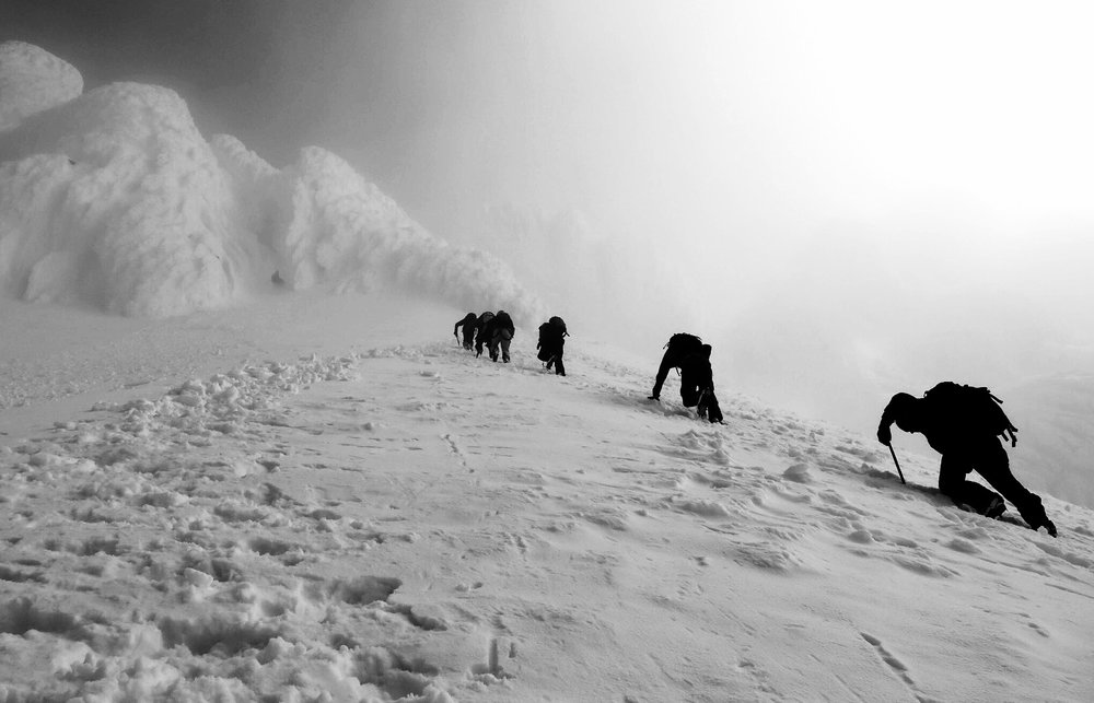 The steep and final push to the summit of Mount Hood through the Pearly Gates.