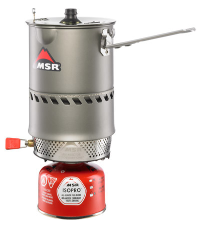 MSR Reactor - Instead of an open flame, this uses a sort of burner that is protected from the wind.   You can swap cook pots and boil snow.  The Reactor series boils water fast!