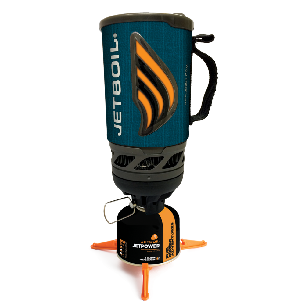 Jetboil Flash - The Flash has an integrated lighter, is incredibly efficient with fuel, and boils very fast.  It has an open flame that is somewhat protected from wind, but not fully.  Due to the design of the system, Jetboil advises NOT to melt snow in the pot or it will damage the system