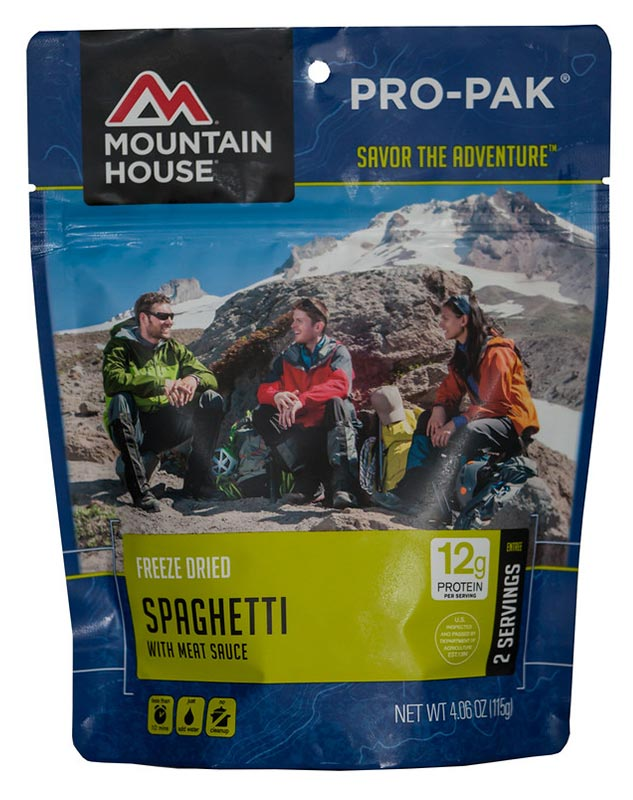Mountain House - If you want to go with a backpacking staple, it's Mountain House.  Some people frown at this brand, but I never will..ever!  A personal favorite of mine is the Spaghetti with Meat Sauce.  Why?  Because it tastes like heaven and I always look forward to it at the end of a long day!