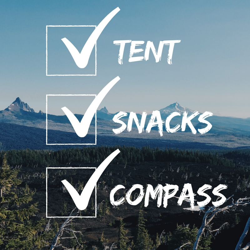 Backpacking Essentials Checklist - A printable checklist detailing exactly what you need for any overnight backpacking trip. This resource gives you the bare minimums you'll need when spending a night in the wilderness but does not suggest a specific item. This is a template to work from when planning a backpacking trip.