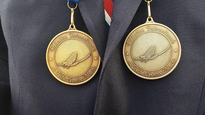 My two favorite pieces of metal. The individual bronze and team silver from the 2015 World Fly Fishing Championship in Bosnia.