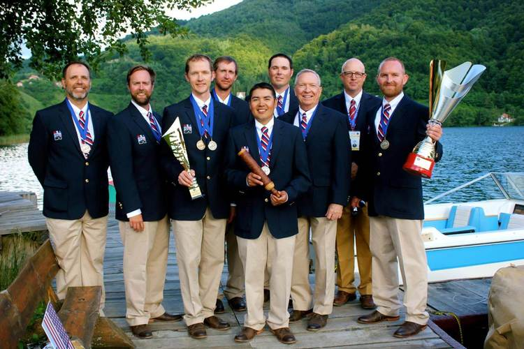 The 2015 Fly Fishing Team USA World Fly Fishing Championship silver medal winning squad. Captain Bret Bishop, Anglers Russ Miller, Devin Olsen, Pat Weiss, Norm Maktima, Josh Graffam, and Lance Egan. manager Jerry Arnold, and John Knight, organizer for this year's World Fly Fishing Championship in Vail, Colorado.