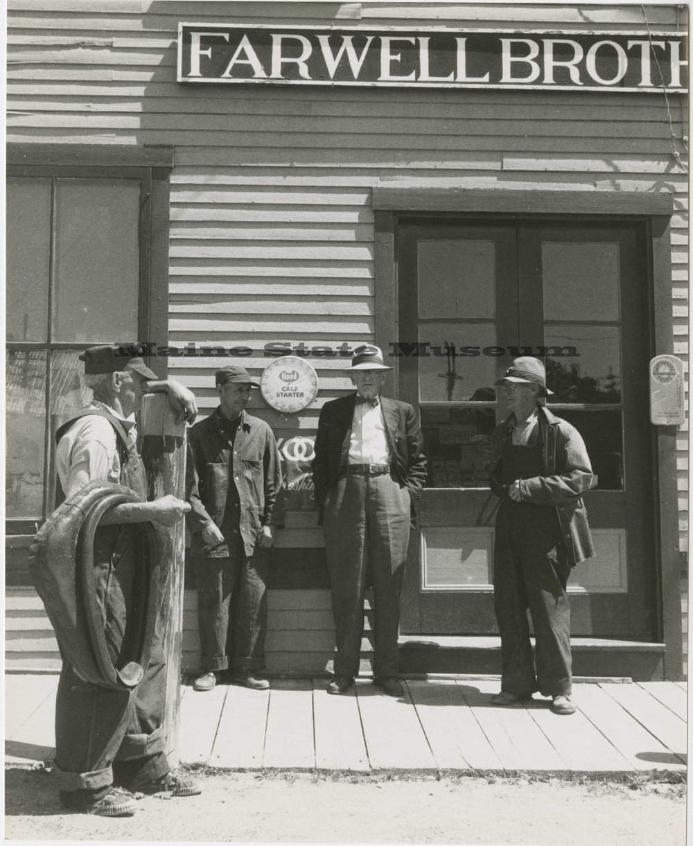 Old timers in front of the Farwell Brothers building. Photo credit: Kosti Ruohomaa/Maine State Museum