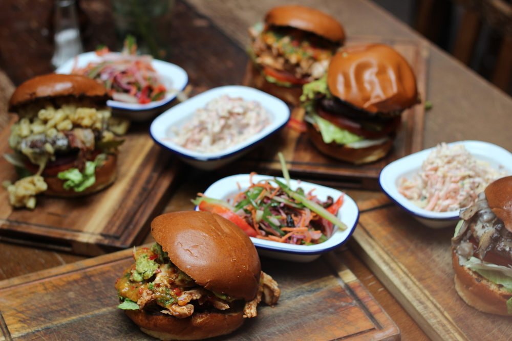 Burgers, slaw and salad with friends