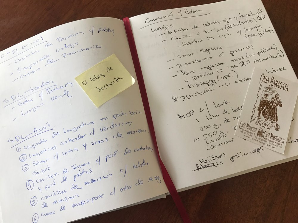 My Camino food notebook...