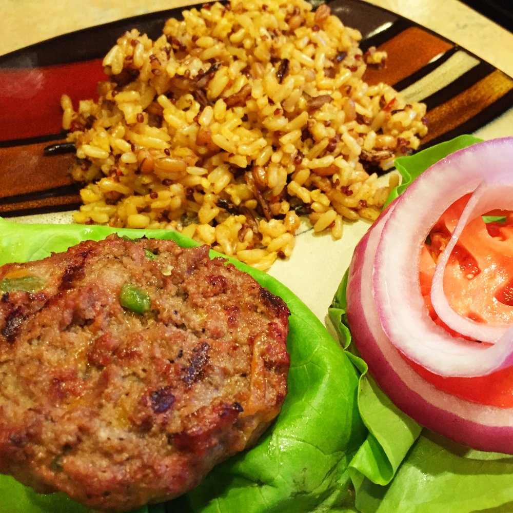 Spicy burgers made with local, lean ground beef