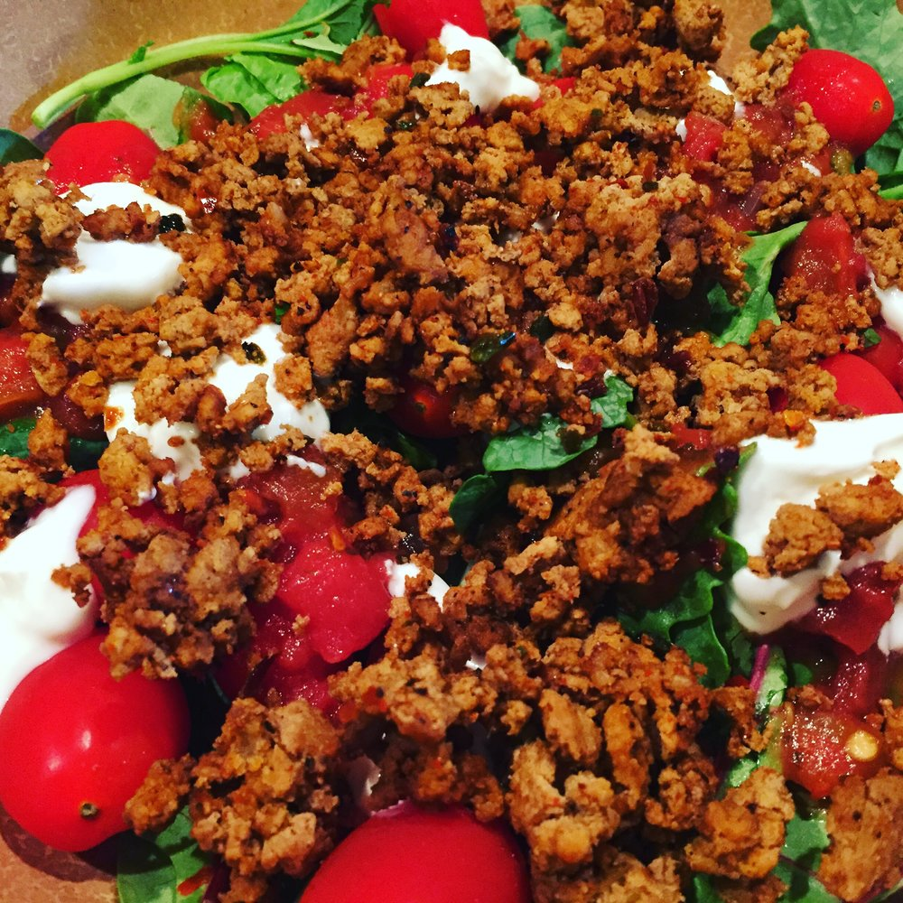 Taco salad with lean turkey burger