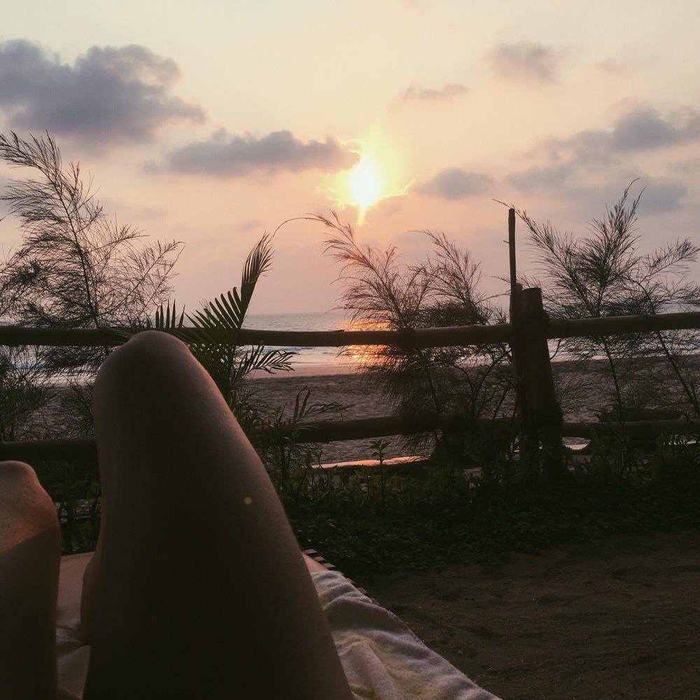 Beach front view at Agonda Cottages, Goa.