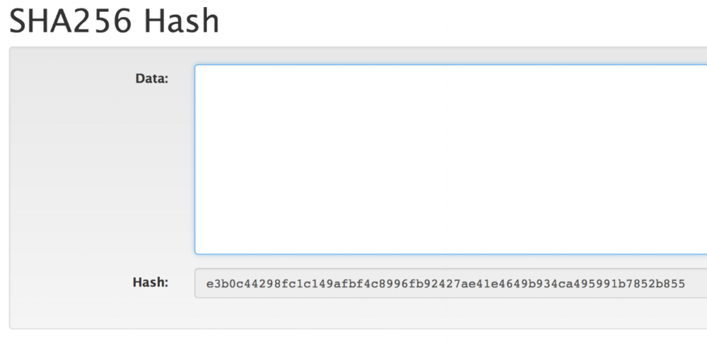 A blank input produces a 64-character hash