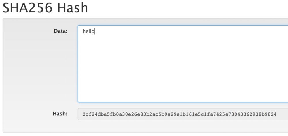 """hello"" has its 64-character hash"