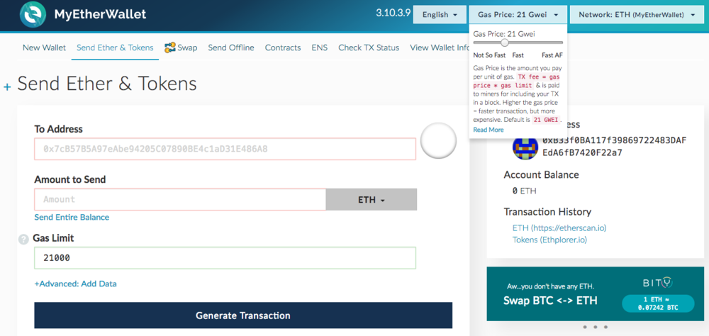 MyEtherWallet is an open-source wallet where you can store, send, and receive Ether.(as well as other tokens)