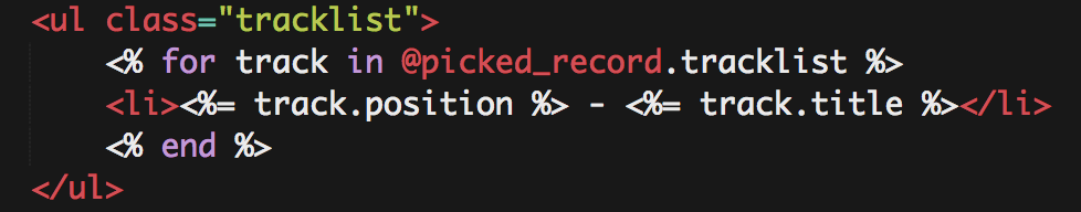 """🎶 @picked_record is a Record object with an instance variable called """"tracklist"""" - an array of Hashie objects for each track"""