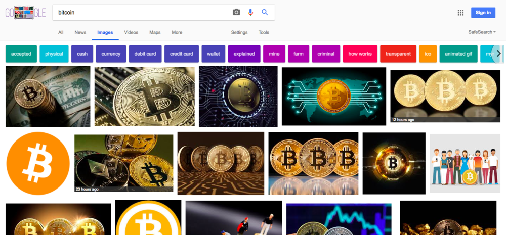 "The first images you see when you Google search ""bitcoin"""