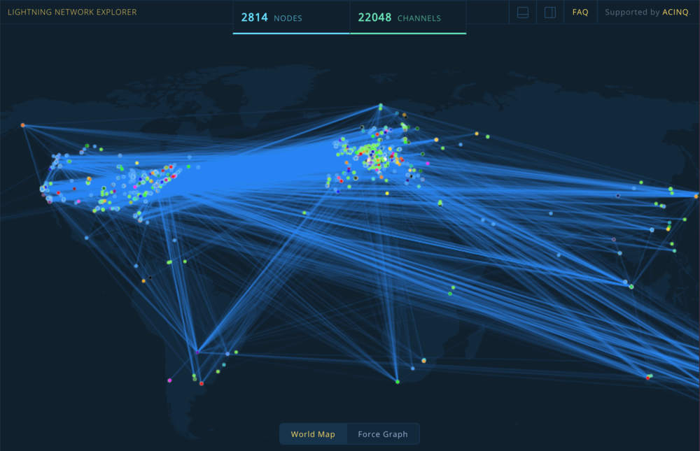 👀A  Lightning Network explorer  mapping nodes around the world by ACINQ. One of  many