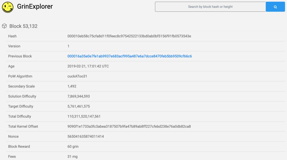 Information on block #53132 on  GrinExplorer