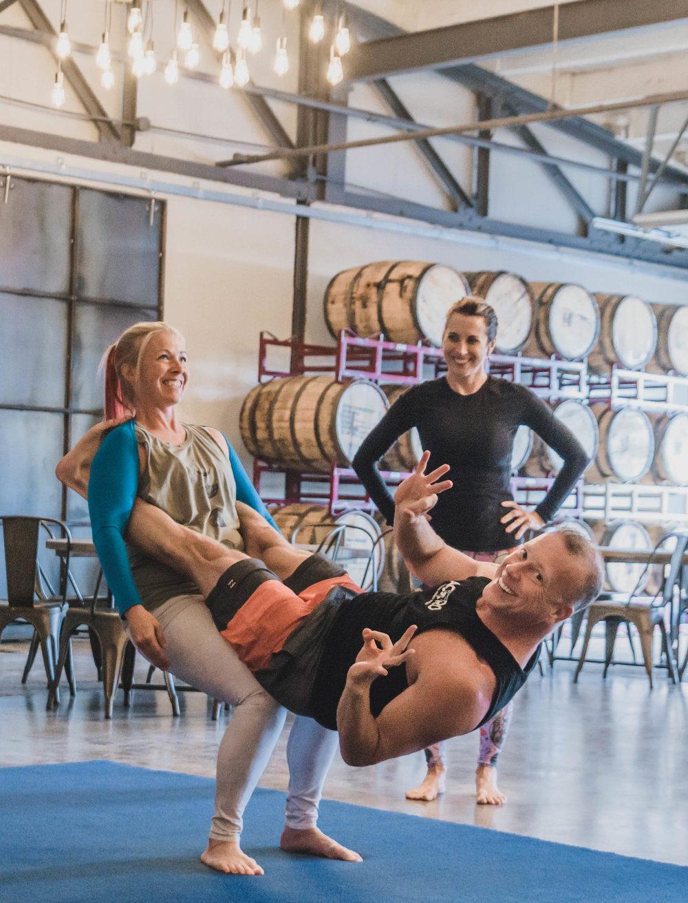 The Class: Acro Yoga Instructors:  Ron Hopkins  and  Kimberly Hart  | Location:  Hotel Tango's The Foxhole  | Photo Cred:  Amy Hall