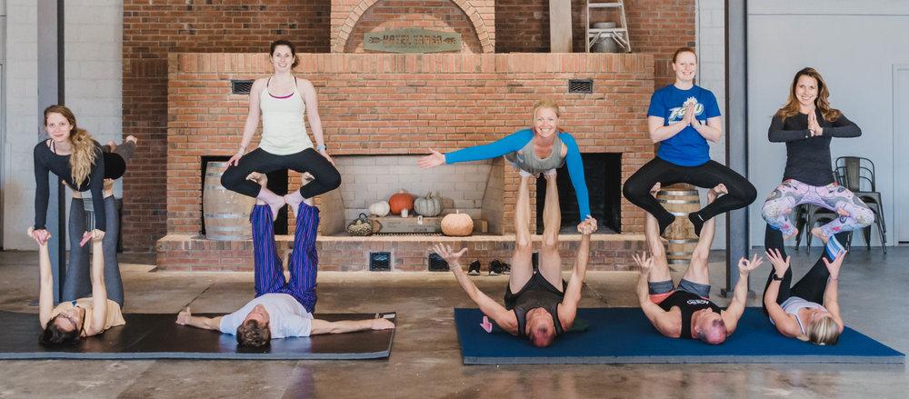 The Class: Acro Yoga Instructors:  Kimberly Hart  and  Ron Hopkins  | Location:  Hotel Tango's The Foxhole  | Photo Cred:  Amy Hall