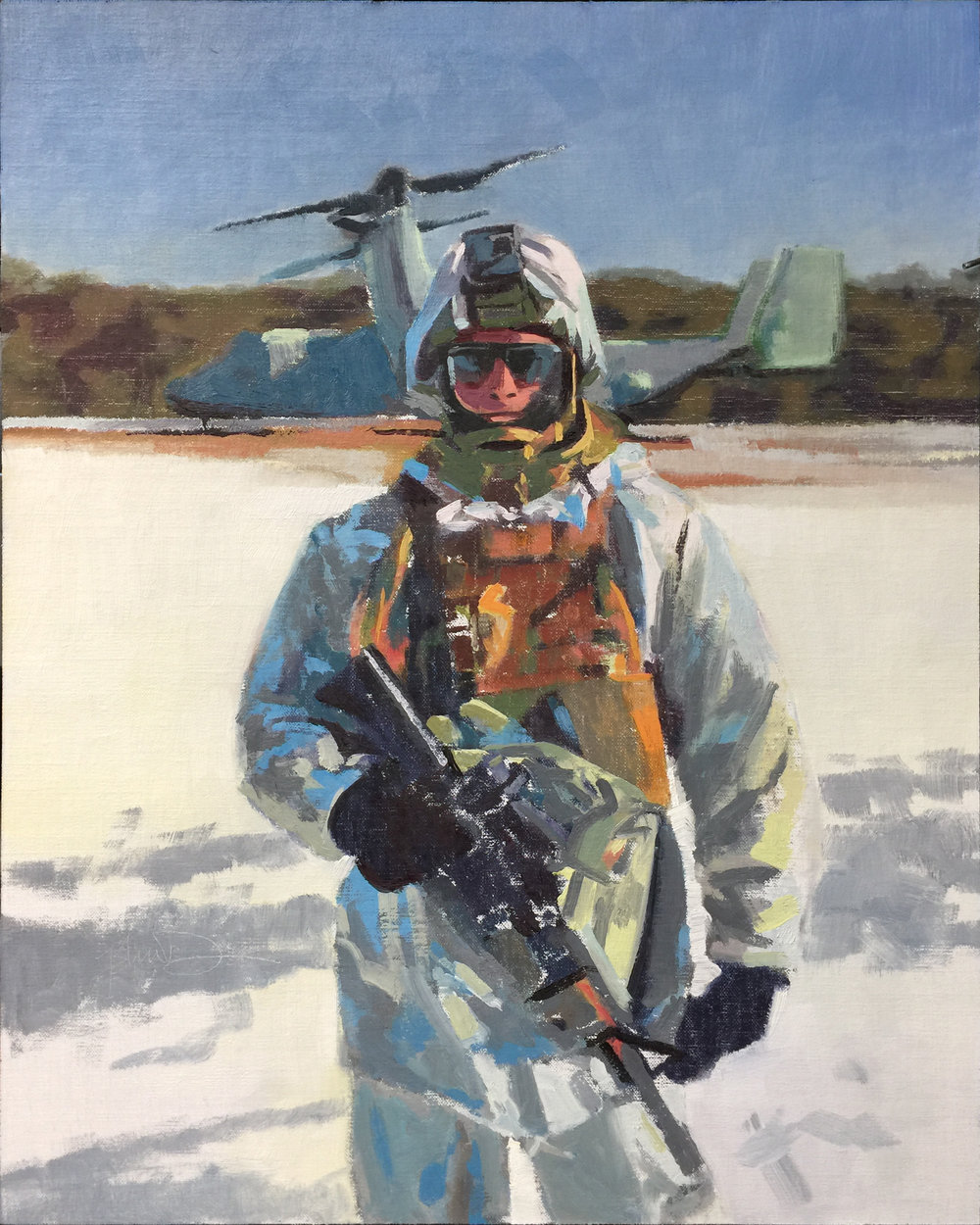 Josh's Marine brother in Japan --Painting by John Deckert from a photograph by - unknown