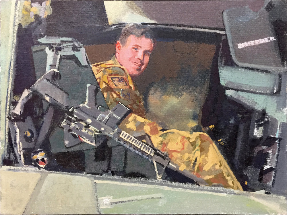 Army Sgt. Schreeder in Afghanistan --Painting by John Deckert from a photograph by - unknown