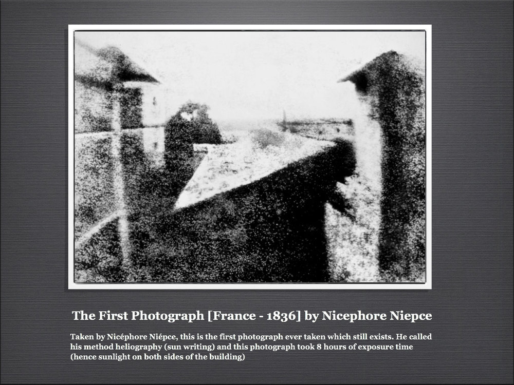 How crude this first photograph must have seemed to a population skilled in draftsmanship.