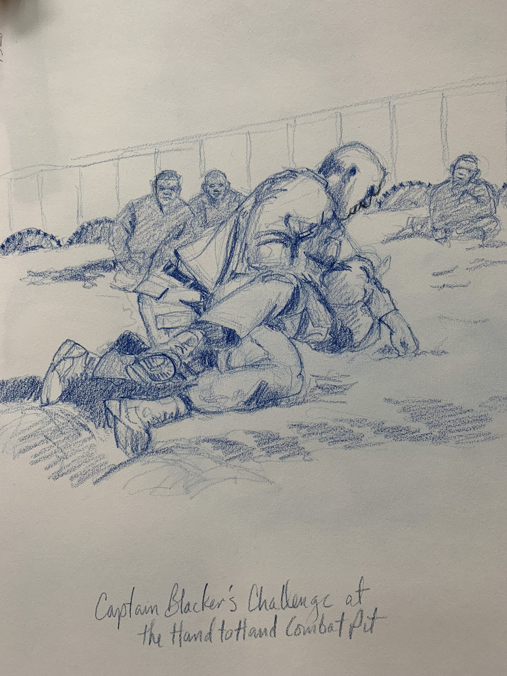 Captain Blacker, Camp Commandant at Camp Wilson challenged the biggest and baddest Marine from a squad training in the Hand to Hand Pit. Fierce grappling, red faces and sweat for 20min in high heat.