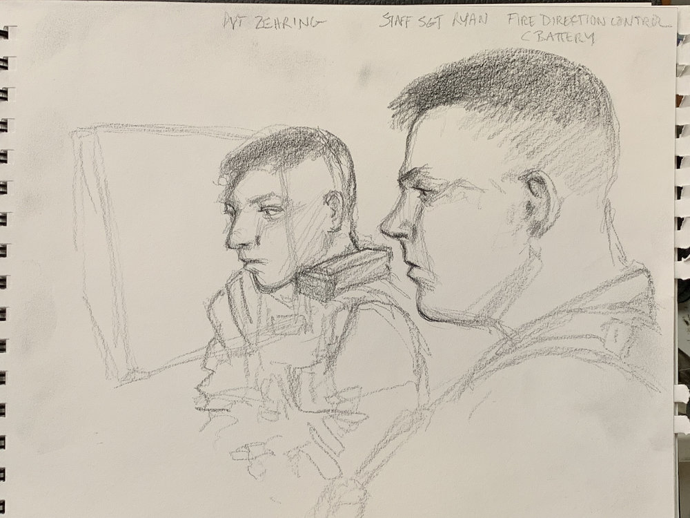 Private Zehring and Staff Sergeant Ryan in the Fire Control Center for C Battery 1/11