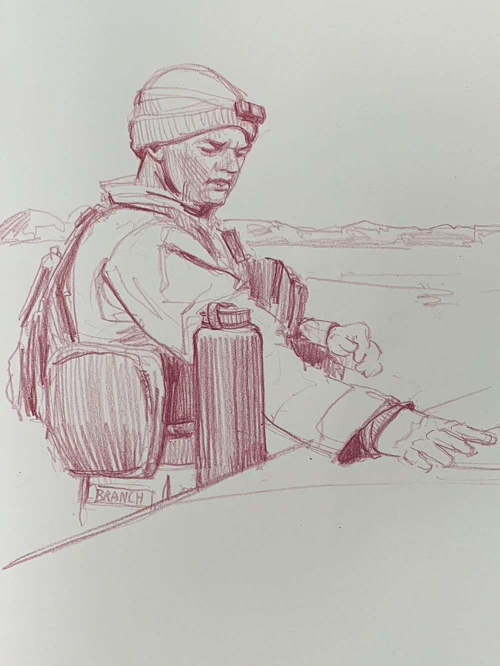 Lieutenant Branch XO of Charlie Battery, 1st Bn, 1/11 planning  first movements of the day on the hood of his Humvee — ITX 2018