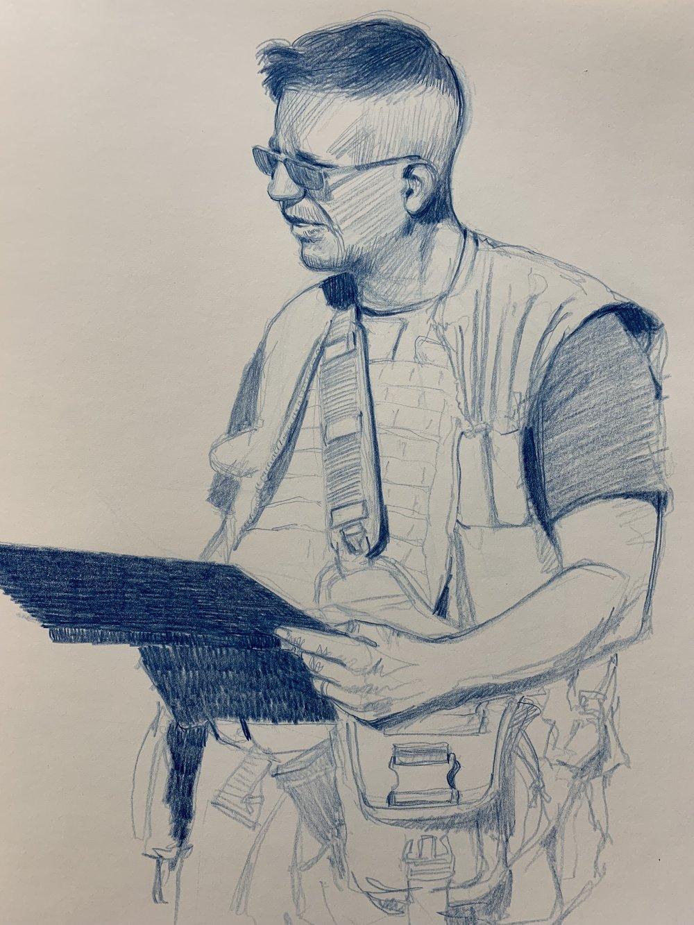 Victor Juhasz, Combat Artist at ITX 2018, 29 Palms, CA