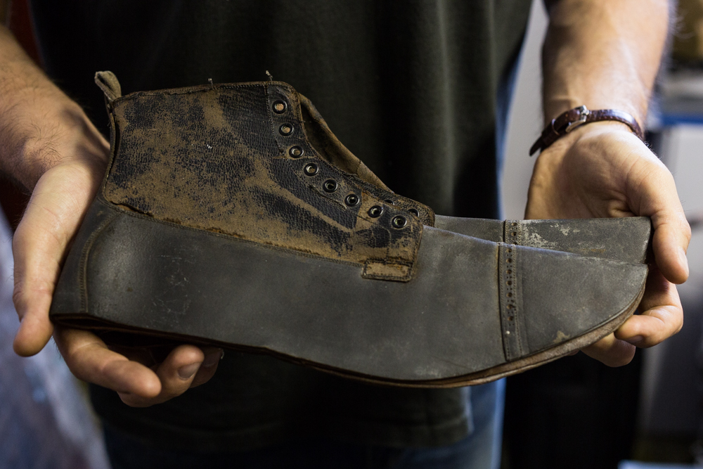 This is a rare completed upper that was never made into a finished boot. The history is unknown but it likely was hands stitched before the original factory was shut down decades prior.