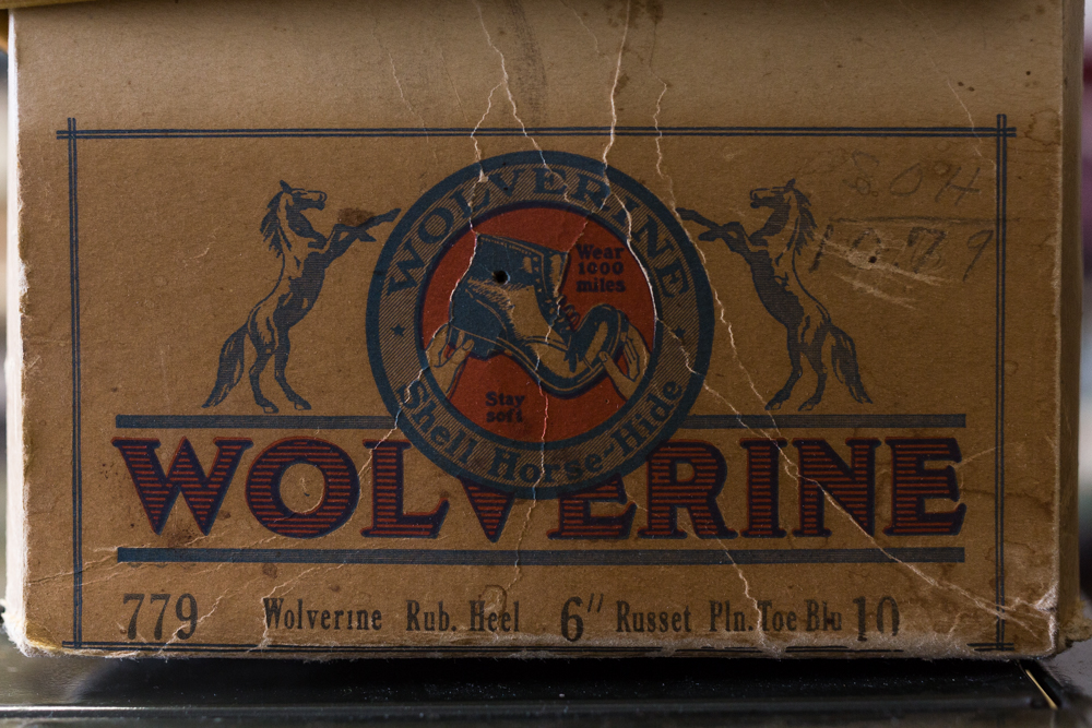 The original box for a pair of unworn vintage Wolverine 1000 Mile Boots. A very rare example from the late 1800's displaying one the first logos.