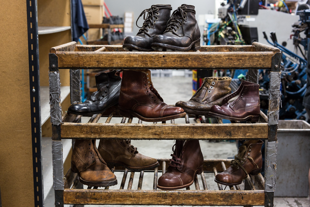 The Viberg factory maintains a vast collection of vintage and deadstock boots ranging from their own designs to WWI and WWII models from a variety of countries. The boots are actively used as both inspiration and construction reference for contemporary models.