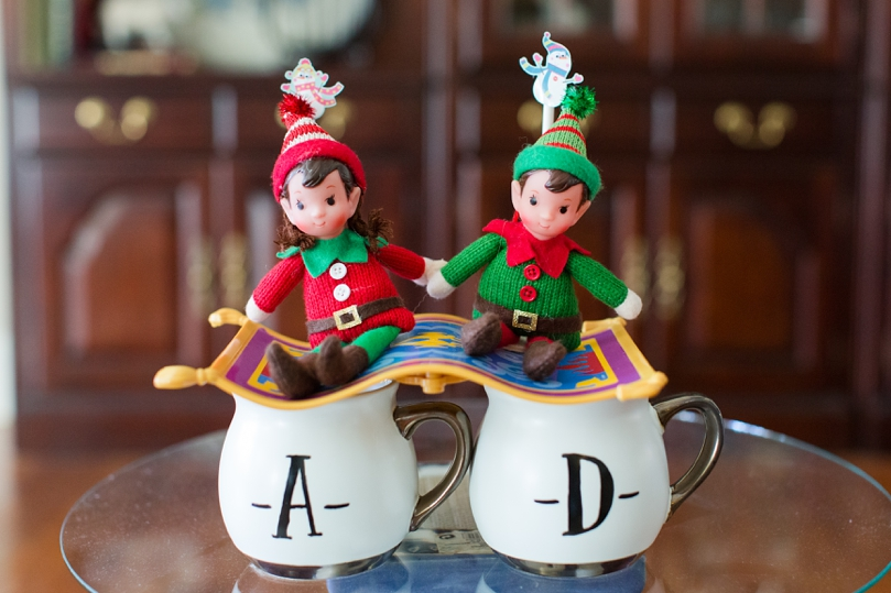 My mom made THE nicest post about our proposal referencing Jasmine and Aladdin so, this was set up of our December Elves was too cute!