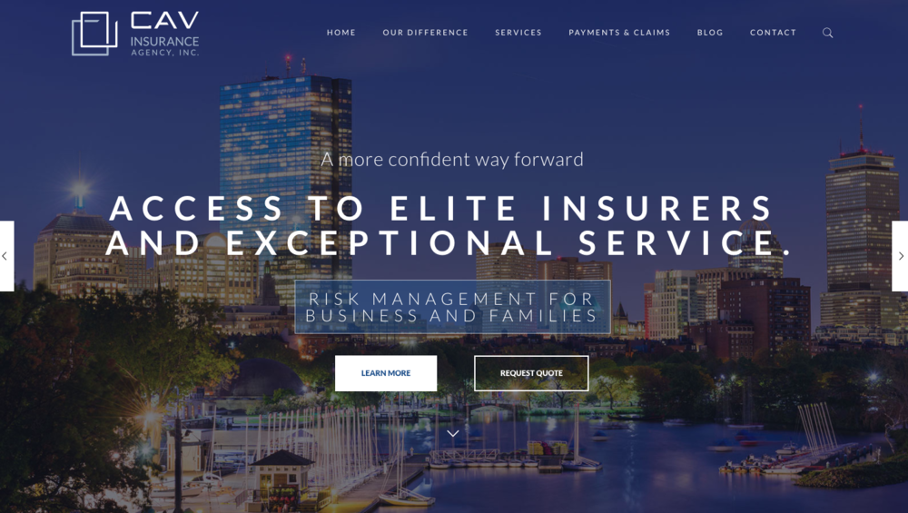 CAV Insurance Agency - I'm proud to partner with this family-owned agency that has served the Boston area for more than 60 years. In addition to a new website, I've created a branding tone & voice guide, a series of marketing emails and am advising on other initiatives.