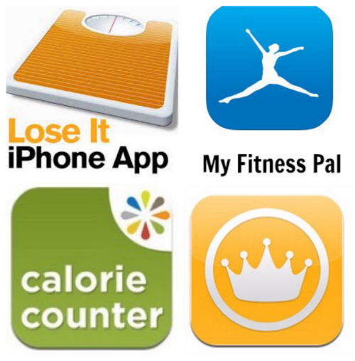 Starting from the left: Lose It, My Fitness Pal, Calorie Counter, and Calorie King