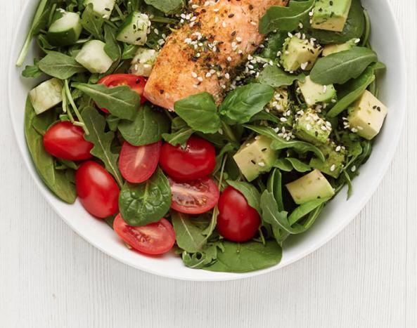 WHOA-MEGA salad:Organic arugula,Baby spinach,Cucumber,Cherry Tomatoes,Avocado...