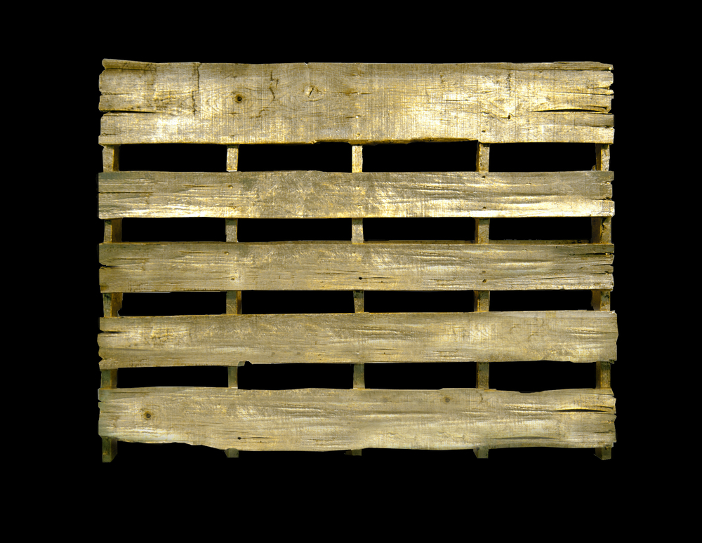 5' X 4' found wooden pallet, gold leaf   This is meant to highlight an overlooked transporter of goods.  Depending on how and where you live, there's a good chance the products you consume daily, were once part of a much larger batch that was shipped, stored, or moved by pallet.    sold                 For commissions please contact Machele@TalkDesignStudio.com       <back