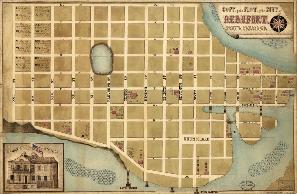 Map of downtown Beaufort During Union Occupation