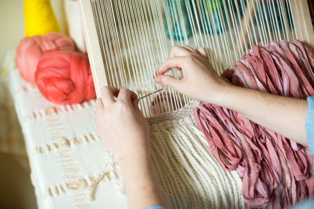 - I create all of my weaving and macrame pieces in my home studio in Columbus, OH. I'm inspired by vibrant colors and surprising color combinations. I also love to include tons of texture in my pieces.You can find some of my past favorites here.