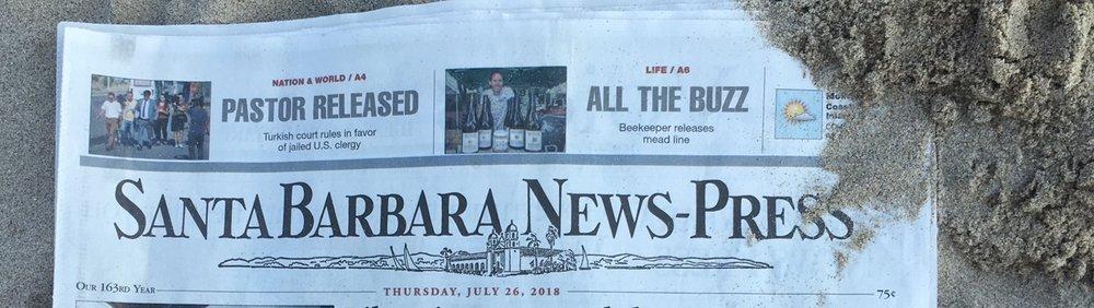 """Santa Barbara News Press - """"ALL THE BUZZ"""" July 26 2018 Front Page"""