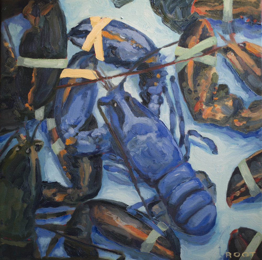 """Oziers Blue Lobster  20"""" x 20""""   SOLD"""