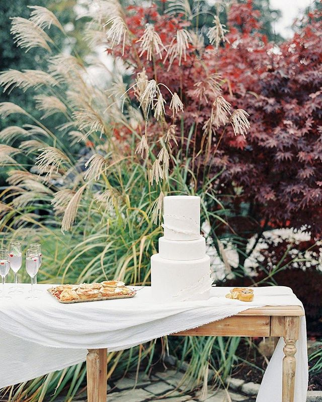 "RepostBy @whitegloverentals: ""A delicate cake, draped linen, and a beautiful foliage backdrop! The perfect setting for #SundaySweets 🍰⁣ Ft. •Cassandra Console Table and Gold Rim Champagne Flutes•⁣⁣ Vendors