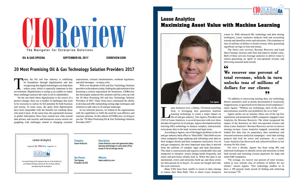 Check out the article in the September 5, 2017, Oil & Gas issue of CIO Review.