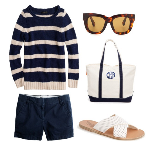 Sweater & Chinos: J.Crew | Sunglasses:  Acne Studios | Bag: Tuckernuck | Shoes: Ancient Greek Sandals
