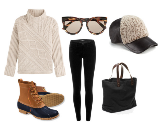 Sweater: Ralph Lauren | Sunglasses: Le Specs | Boots: L.L. Bean | Skinnies: J Brand | hat: Rag & Bone | Bag: L.L. Bean