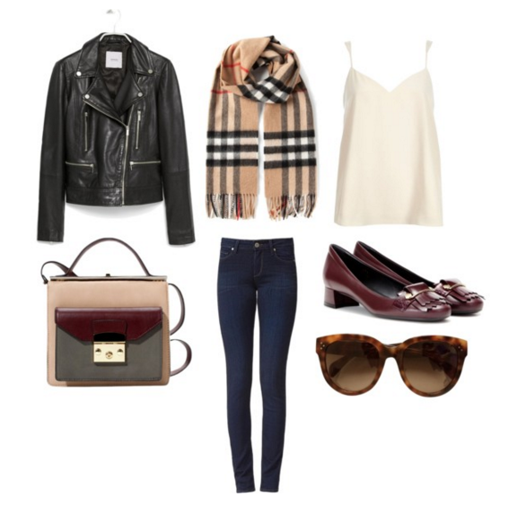 Jacket: Mango | Scarf: Burberry | Bag: Blackfive | Jeans: Paige Denim | Top: River Island | Shoes: Tod's | Sunglasses: Celine