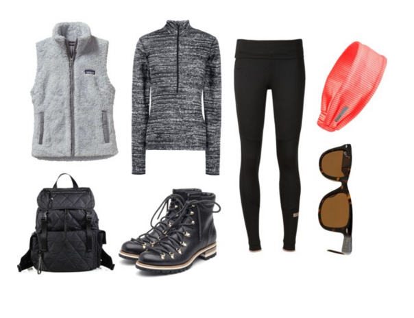 Vest: Patagonia | Top:  Nike | Leggings: Adidas | Headband: Zella | Sunglasses: Ray Ban | Boots: Rupert Sanderson | Backpack: Rebecca Minkoff
