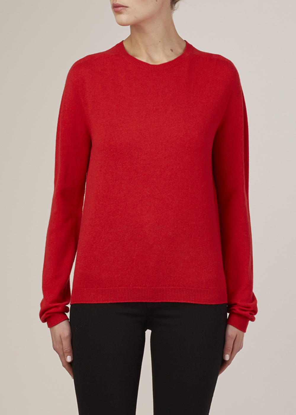 Jil Sander Red Cashmere Crewneck Sweater