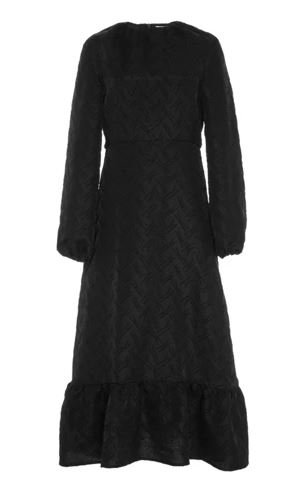 J.W. Anderson | Black wool-blend long sleeved midi dress