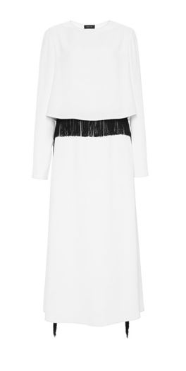 Derek Lam | White three quarter sleeve gown with black fringe trim